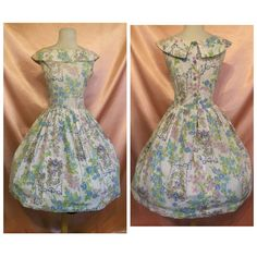 1950s 1960s full skirt floral print summer dress  by lebunnyshoppe