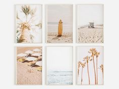 Coastal Beach Poster Set of 6 Prints Beach Prints Printable Beach Wall Art, Diy Wall Art, Beach Posters, Beach Print, Surf Art, Abstract Watercolor, Photo Art, Giclee Print, Gallery Wall