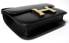 """Hermes Constance 23cm Black Box Leather with GUILLOCHE Gold hardware 