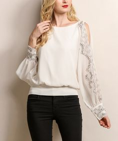Look what I found on #zulily! Cream Geometric Beaded Blouson Top #zulilyfinds