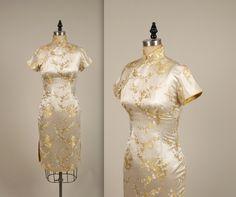1950er Jahre Brokat Cheongsam Kleid Vintage von MintageClothingCo