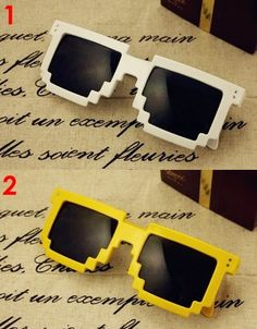 8 Bit Sunglasses by 8 Bit Apparel I have purple ones just like these!!