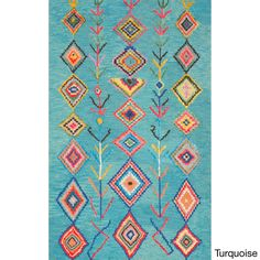 nuLOOM Contemporary Hand Tufted Wool Moroccan Triangle Multi Rug (8'6 x 11'6) (Turquoise), Blue, Size 9' x 12'