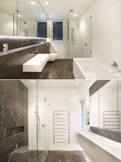 Pietra Grey 610 x 610 x 15 Honed + Bevelled Tiles applied to floor and walls, feature in Powder Room, Ensuite and Bathroom. White Snow Matt Rectified 600 x 300 x 10 Ceramic Tiles applied to walls, featured in Ensuite and Bathroom.Natural stone supplied by Sareen Stone www.sareenstone.com.au. Restoration by Dobsonei Construction www.dobsonei.com
