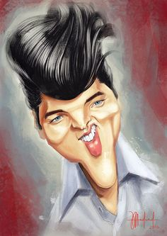 """CARICATURAS DE FAMOSOS: """"Elvis Presley"""" por Dinko Medved"""
