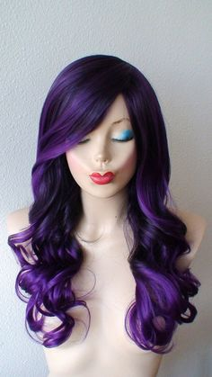 Black purple / Purple Ombre wig. Long volume curly by kekeshop