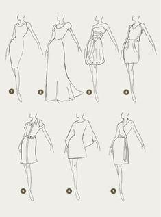 1.Tubo - 2.Princesa - 3.Balonê - 4.Saco 5.Chemisier - 6.Vestido túnica - 7.Wrap dress