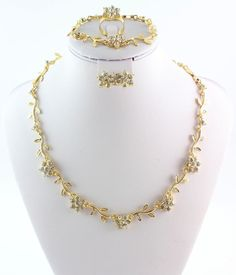 Gold plated 4pcs jewelry sets new arrival designer bridal flower style sets