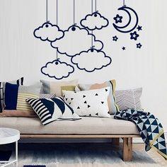 Wall Decal Vinyl Sticker Art Decor Design Clouds Set Rain Month Moon Star Sky Kids Children Nursery Night Style Dorm Bedroom (M1370)