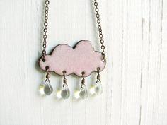 Pink Cloud Necklace - Enamel On Copper, Glass Raindrops. $37.00, via Etsy.