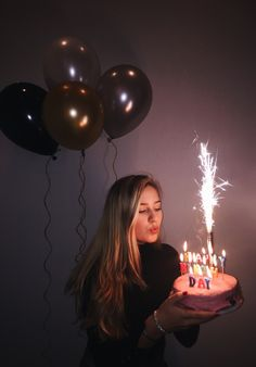 Birthday Shoot Sweet 16 Bday Photo 17 18 19 20 21 22 Balloons Firework Cake Happy Candles