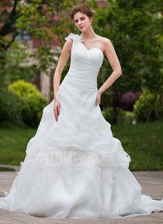 Wedding Dresses - $208.99 - Ball-Gown One-Shoulder Chapel Train Organza Wedding Dress With Ruffle Flower(s) (002000644) http://jjshouse.com/Ball-Gown-One-Shoulder-Chapel-Train-Organza-Wedding-Dress-With-Ruffle-Flower-S-002000644-g644