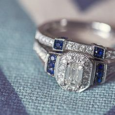 Ladies Emerald Cut Diamond and Sapphire Wedding Set in 14 Kt. White Gold | Engagement | Wedding | Diamonds | Blue Sapphire | Riddle's Jewelry