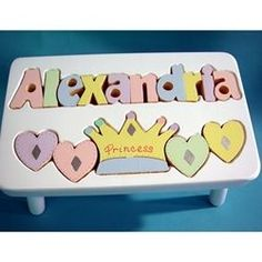 Personalized White Princess Name Puzzle Step Stool 1st Birthday Gifts Baby Girl