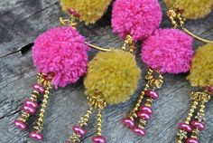Hot Pink and Yellow Pom Pom Fun. Drop earrings by ShelleyLChalmers