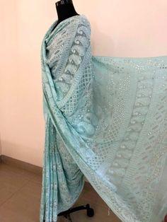 Chikankari Sarees from , Shipping Worldwide. Chanderi Suits, Chikankari Suits, Indian Dresses, Fashion Pants, Black Cotton, Kurti, Pure Products, Silk, Sarees