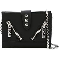 Kenzo Kalifornia Clutch (11,430 PHP) ❤ liked on Polyvore featuring bags, handbags, clutches, black, chain wallet, chain strap handbag, kenzo, chain handle handbags and kenzo handbags