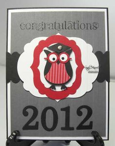 Graduation Owl with the Label Framelits + EASY glasses tip... straight piece BEFORE eyes...