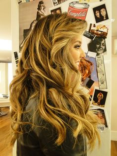 Beautiful blonde and brown hair with loose curls and perfect bangs