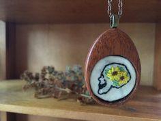 #Jewelry  #Necklace  #Fiber # thehornet'snest  #hand #embroidery  #needlework  #wood #jewelry #pendant  #gift  #christmas gift #sweet  #spooky #skull  #bones  #bone jewelry  #skeleton