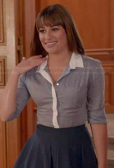 Rachel's blue button down shirt with white trim and navy pleated skirt on Glee.  Outfit Details: http://wornontv.net/43383/ #Glee