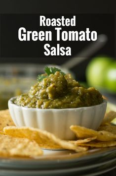 Healthy and flavorful, this roasted green tomato salsa is the delicious replica of our favorite Mexican restaurant's dish. Healthy and flavorful, this roasted green tomato salsa is the delicious replica of our favorite Mexican restaurant's dish. Canning Green Tomatoes, Salsa With Canned Tomatoes, Green Tomato Relish, Green Tomato Recipes, Vegetable Recipes, Recipe For Green Tomato Salsa, Tapenade, Mexican Food Recipes, Vegetarian Recipes