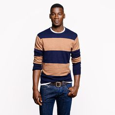 Cotton-cashmere sweater in heather acorn stripe - sweaters - Men's New Arrivals - J.Crew