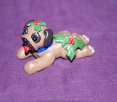 Xmas pug handmade polymer miniature OOAK by BloodroseFigures