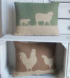 ' Country Sheep ' Hessian Cushion