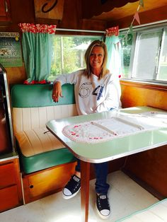 """I'm a happy camper after 2 years of a complete rebuild on this beauty """"Louise"""" our 1959 Shasta Airflyte. Vintage Campers Trailers, Vintage Airstream, Vintage Caravans, Camper Trailers, Shasta Camper, Trailer Interior, Camper Renovation, Remodeled Campers, Happy Campers"""