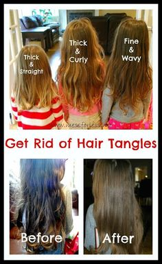 Get Rid of Hair Tangles Plus a Recipe for homemade hair detangler. Never waste time with tangles again.