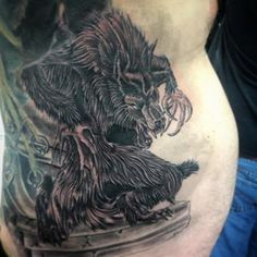 Big bad wolf done on johns ribs today by Andy @timelessandy666
