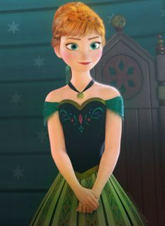Princess Anna in her Coronation Day dress.... OLIVE ~ light & medium, TEAL, AQUA, PURPLE & FUCHSIA ROSE
