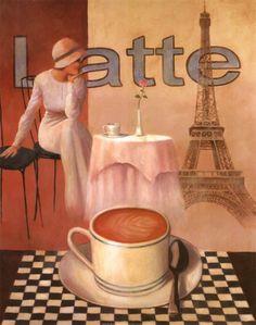 Latte, Paris Art Print