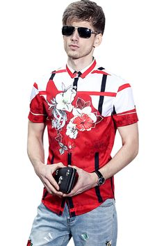 4a8c541daf3 Fanzhuan Free Shipping New fashion casual male men s Summer red 2017 short  sleeved shirts slim color