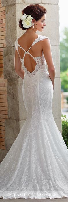 Plunging Neckline Wedding Dress -Enchanting by Mon Cheri Spring 2017