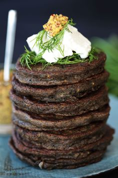 Spinach and dill savory buckwheat pancakes
