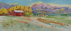 """""""Mt Princeton View, Nathrop, CO"""" by Nora Larimer Watercolor ~ Framed Size 22 x 38"""