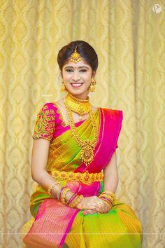 Beautiful Traditional Bridal Silk Saree - 101 Trendy Bridal Silk Sarees worn by Real Brides…! Wedding Saree Blouse Designs, Pattu Saree Blouse Designs, Half Saree Designs, Fancy Blouse Designs, Wedding Sarees, Bridal Sarees South Indian, Bridal Silk Saree, Indian Bridal Fashion, South Indian Bride