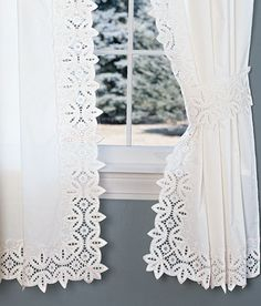 Battenburg Lace Rod Pocket Curtains...so pretty!   Country Curtains