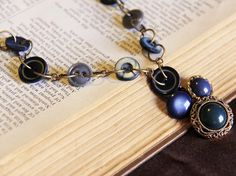 Blue Antique Button Necklace by Objects and Subjects