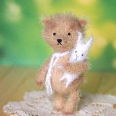5 inches teddy bear Edwin with bunny toy