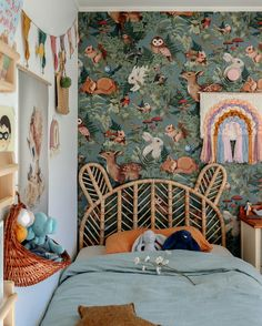 The Fleur Harris wallpaper in this beautiful nursery is so wonderful! Every day would be like a little woodland walk. Great idea for decorating a baby or small childs room. Girl Room, Girls Bedroom, Bedroom Decor, Bedroom Ideas, Child Room, Baby Wall, Creative Kids Rooms, Estilo Tropical, Interior Wallpaper