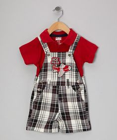 Take a look at this Red Plaid Polo & Shortalls - Infant by Little Rebels on #zulily today!