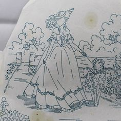 Crinoline Lady & Garden - Vintage Iron-on Embroidery Transfer by TheVintageSewingB on Etsy