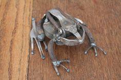 Recycled Scrap Metal Sculpture of a Frog , Reclaimed Metal, Repurposed Metal, Unique Art, Welded Steel Art, Garden Art