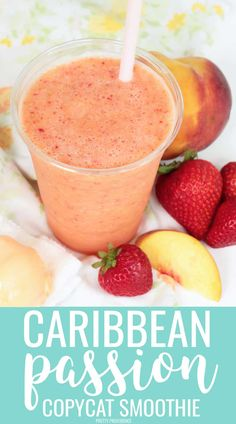 This Jamba Juice Caribbean Passion smoothie copycat recipe is spot on! It's SO good, just five minutes and four ingredients to tropical deliciousness! Raspberry Smoothie, Fruit Smoothie Recipes, Juice Smoothie, Smoothie Drinks, Healthy Smoothies, Jamba Juice Recipes, Strawberry Pineapple Smoothie, Tropical Mango Smoothie Recipe, Passion Fruit Smoothie
