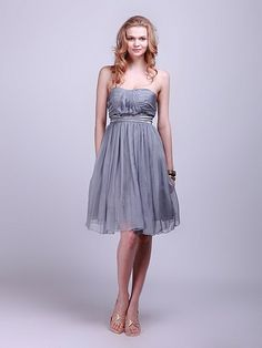 Strapless Pleated Sheer-Chiffon Bridesmaid Dress | Plus sizes available! You can even custom dress color with them!