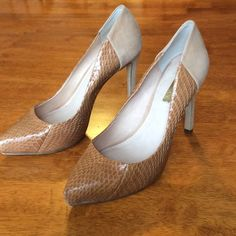Louise et Cie snake skin/suede high heels size 7 Tan snake skin with suede back end of shoe.  Worn only a few times, good condition, size 7 Louise et cie Shoes Heels