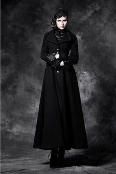 Pyon-Pyon-Schleifen-Mantel-Punk-Rave-Bow-Coat-Gothic-Lolita-Jacket-Black-Y043